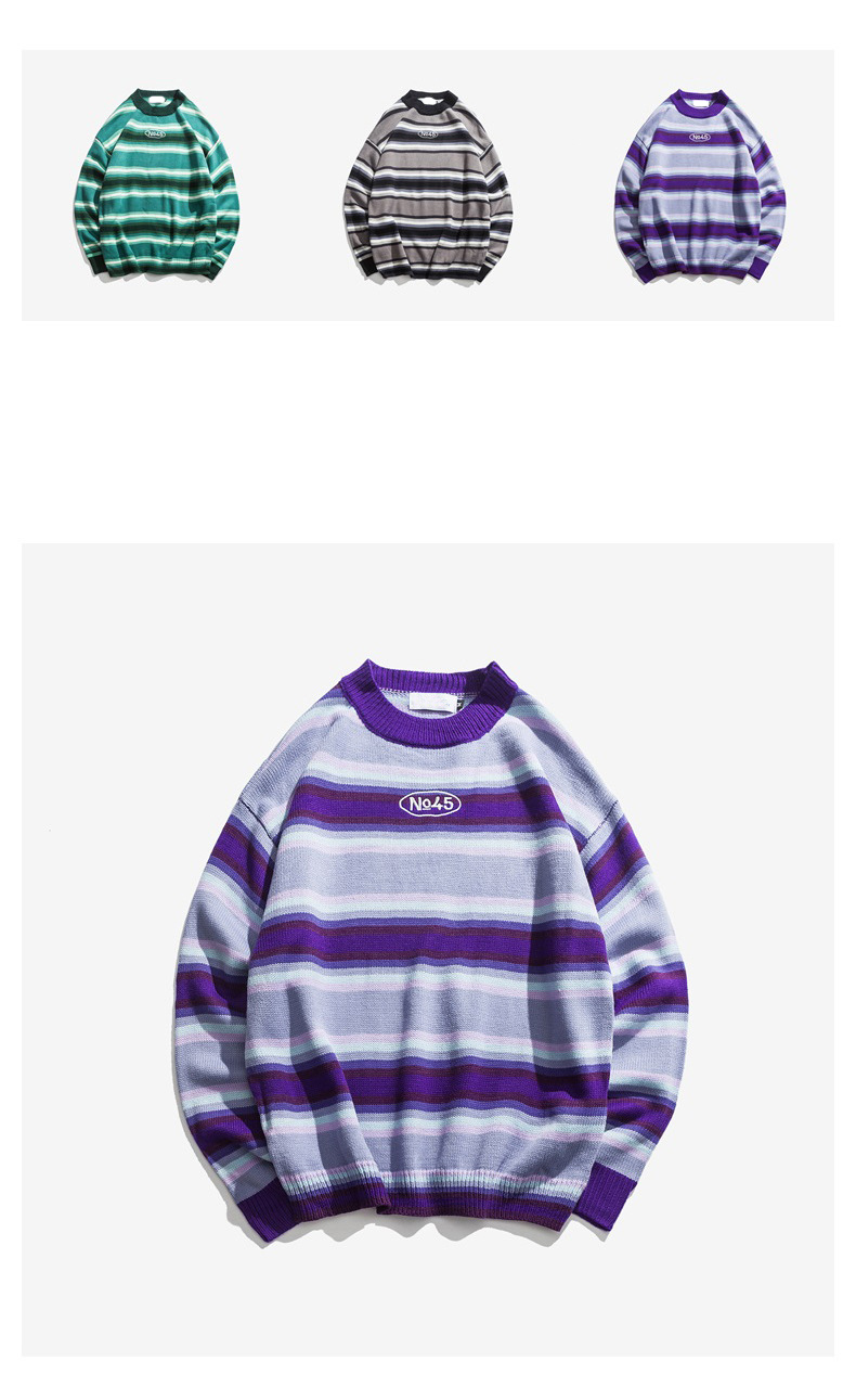 Knitted Japanese Harajuku Style Striped Sweater for Men Urban Boys Street Wear Crewneck Embroidery Pullover Jumper Oversized 7