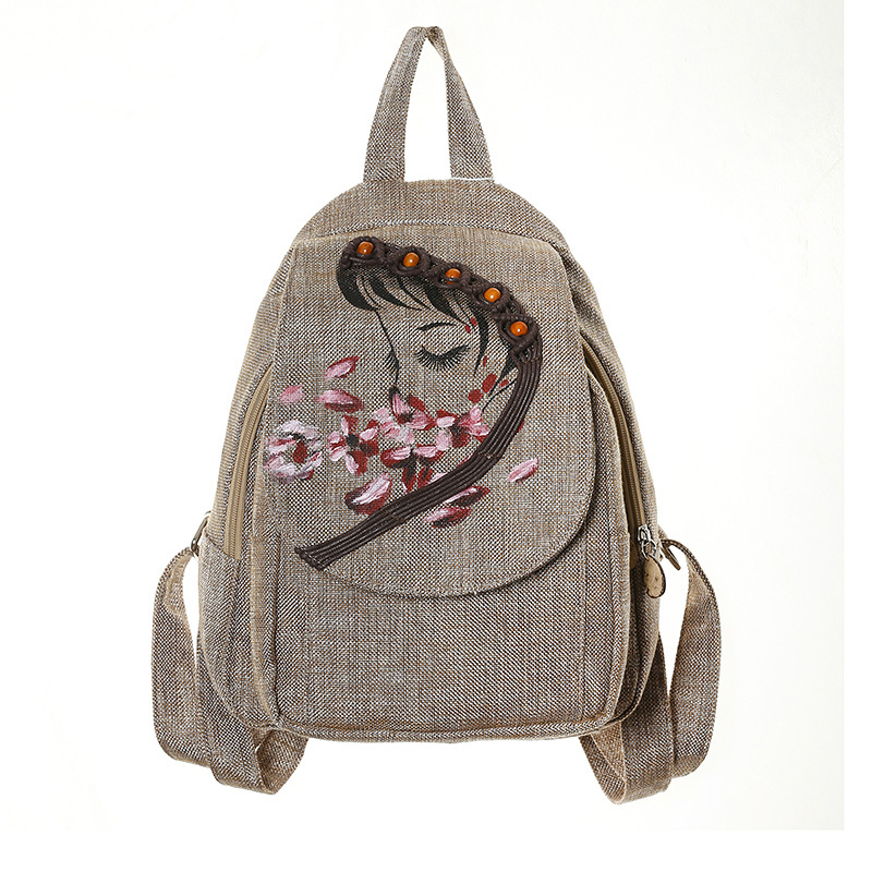 Pure Hand-Painted Cotton and Linen Woven Backpack Literary Backpack Hand-Painted Cotton Backpack