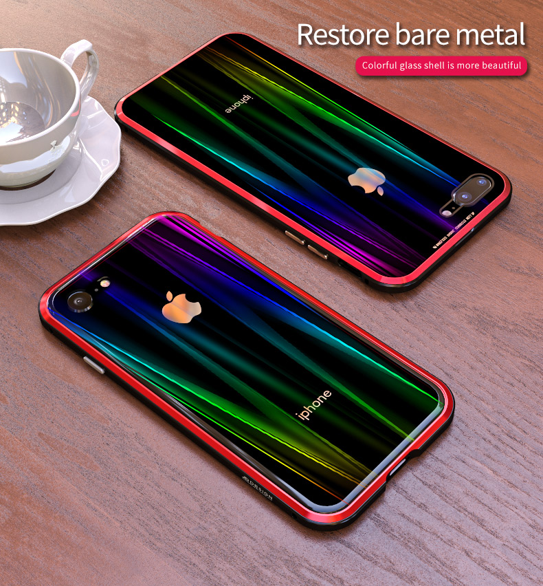 LUPHIE Colorful Laser Aurora Case For iPhone X 8 7 Plus Luxury Glass Case (13)