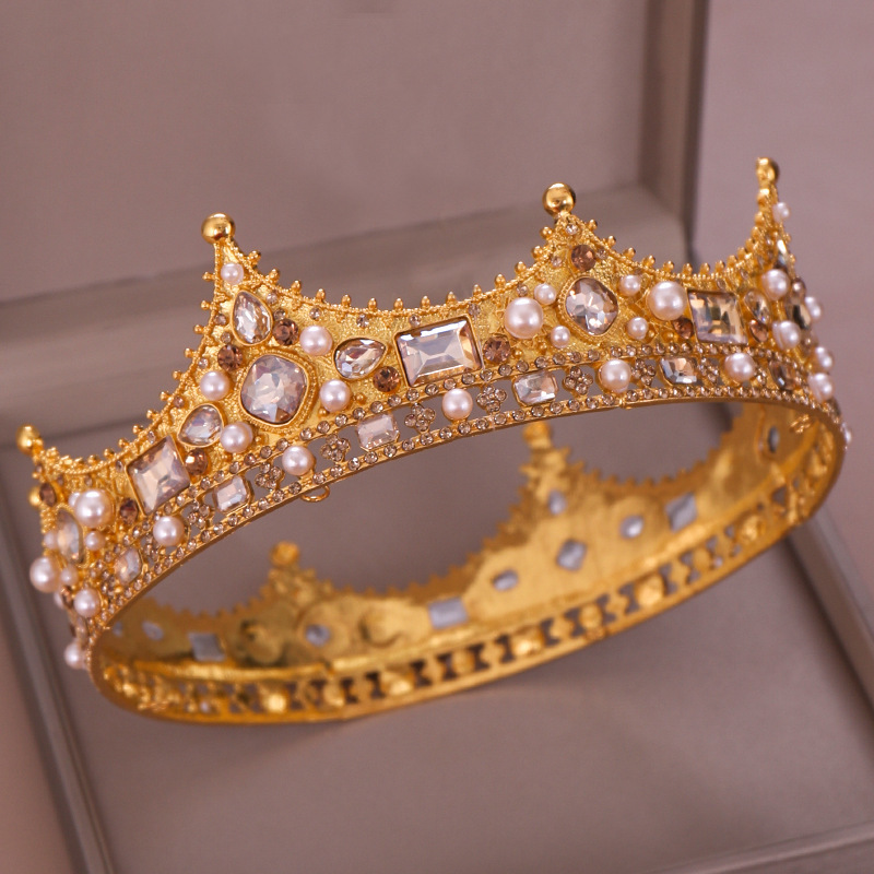 LLLucky Newborn Circle Crown Baby Round Princess Tiaras Infant Photography Shooting Props Crown Gold