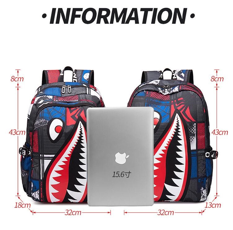 Yoga Runner Daypack Shoe Bags with Zipper and Pockets Drawstring Bag Shark Mouth Shoulder Bags Travel Sport Gym Bag Print