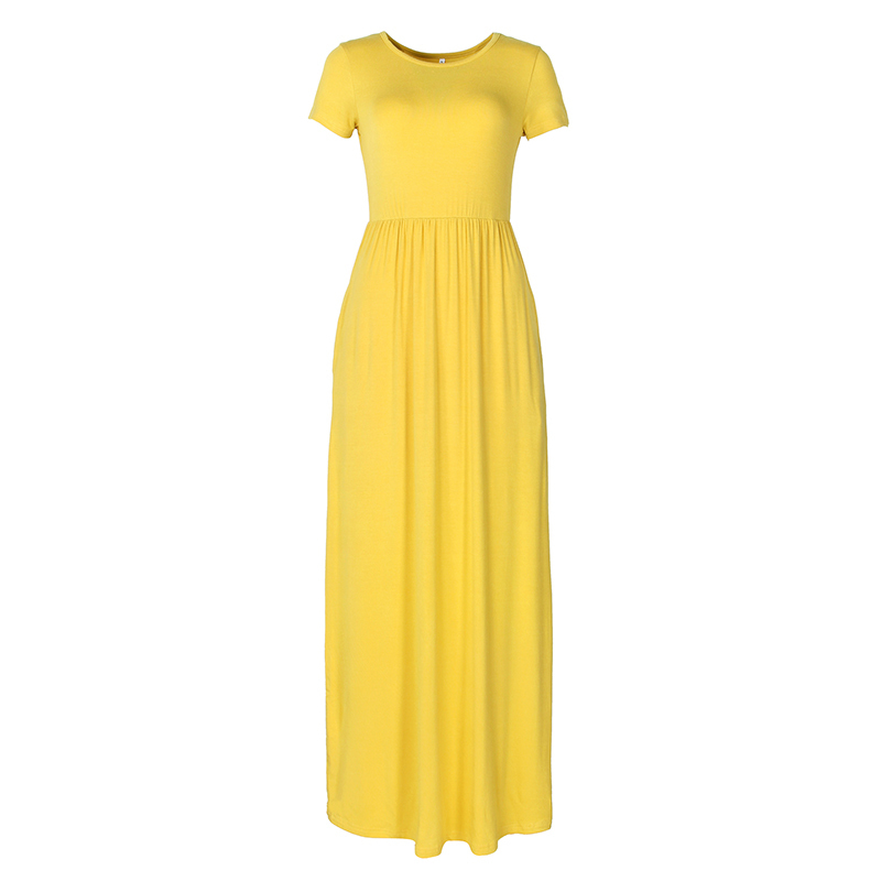 Summer Maxi Long Dress Women Clothes New Fashion Short Sleeve Solid Casual Dresses Cotton Femme Pockets Robe Plus Size Xxl Gv598 J190529
