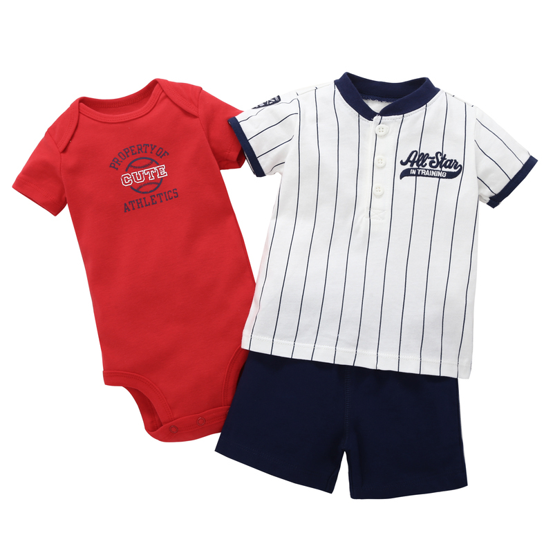 2018 summer casual newborn baby boy Vertical stripes short sleeves tshirt with letter 3 pcs clothes suit cotton romper set