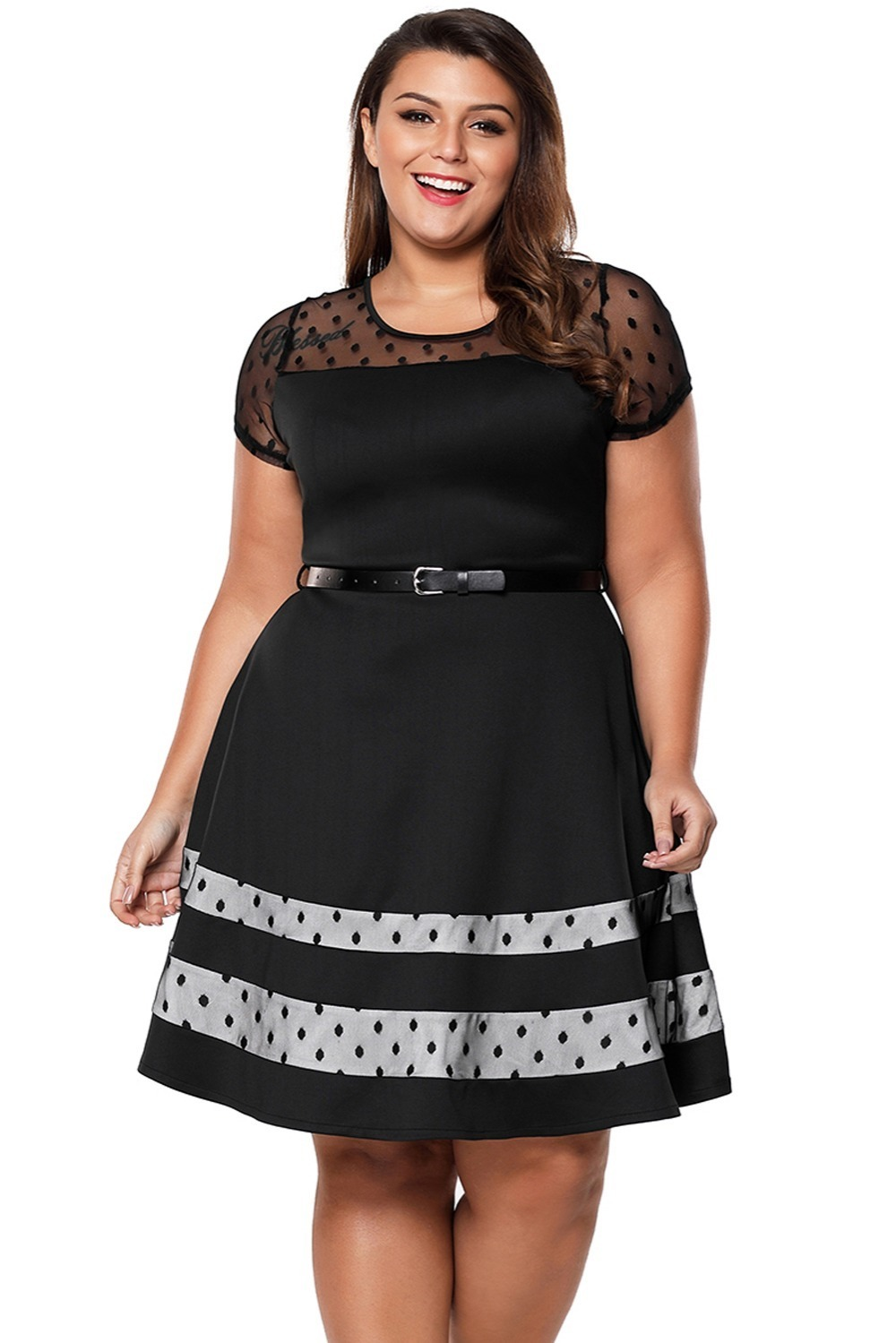 Black-Dotted-Mesh-Insert-Flare-Plus-Size-Dress-with-Belt-LC61970-2-5