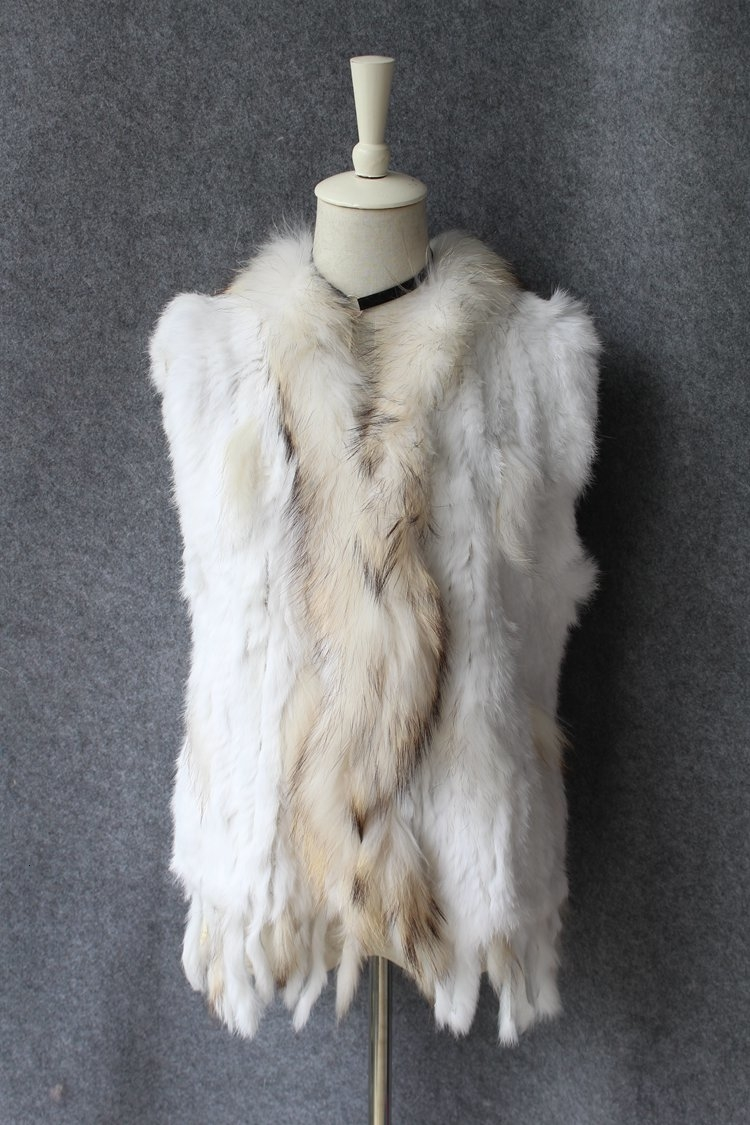 genuine real rabbit fur vest with raccoon fur collar (1)