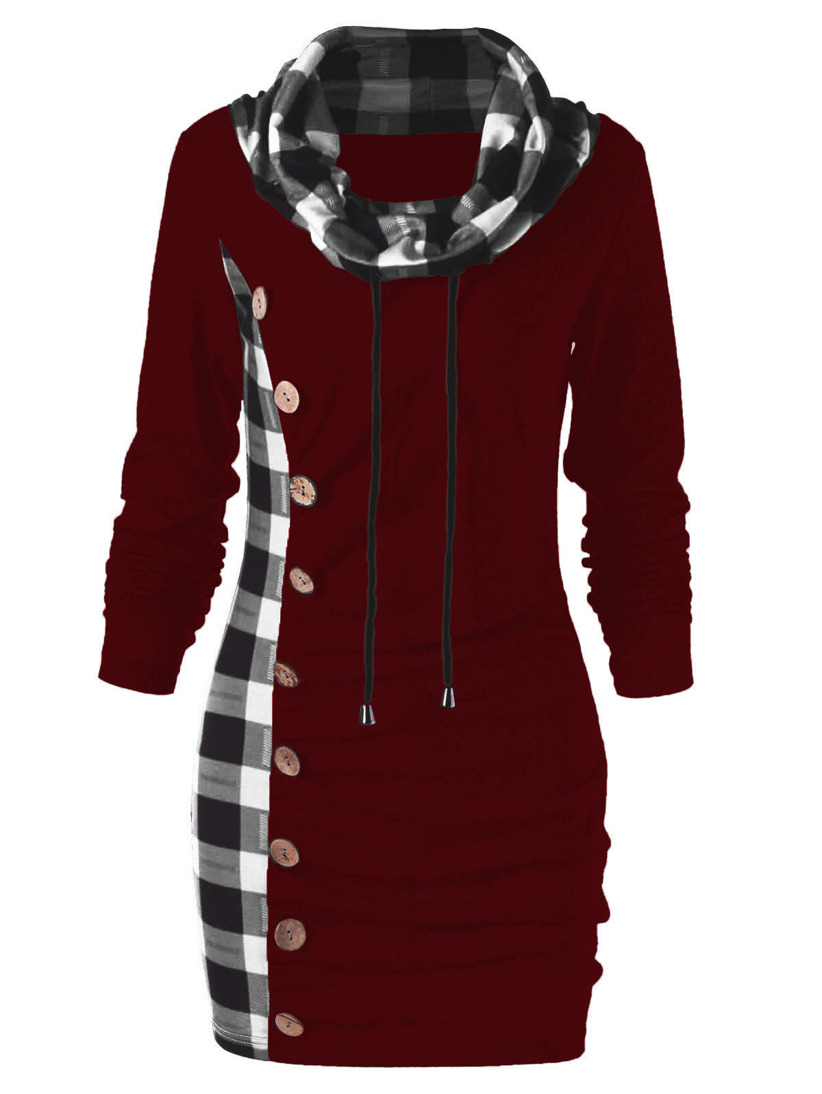 Wipalo Bottons Plaid Trim Drawstring Tunic Sweatshirt Dress Female Casual Sheath Cowl Neck Long Sleeve Dress Winter Fall Vestido Y19021410