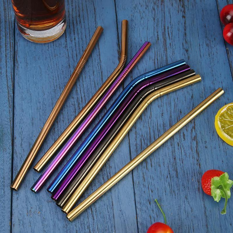 Colorful Stainless Steel Drinking Straws Straight And Bent Reusable Metal Straw With Brush Bar Accessories