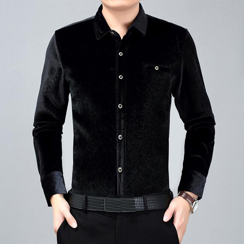 Mstyle Mens Long Sleeve Plus Size Pure Color Warm Winter with Velvet Button Down Blouse Shirt Tops