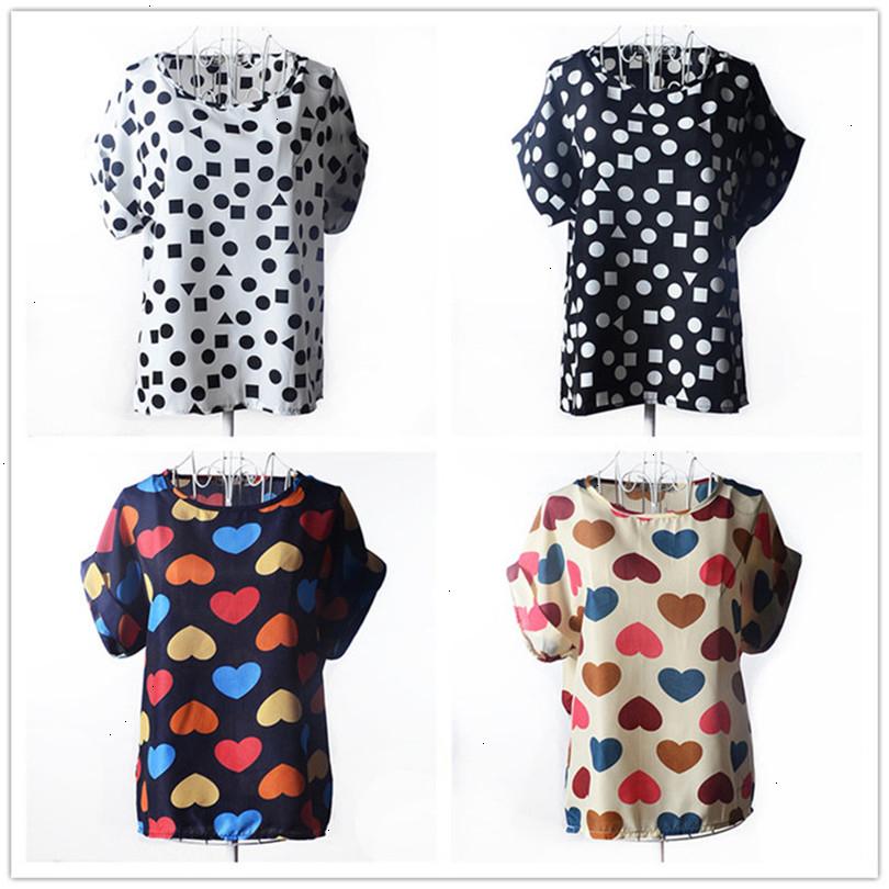 Summer Style Big Dots Women Blouse 19 Type Large Size Woman Printing Blouse Shirt Short-sleeved Chiffon Blusas Femininas Roupas (2)