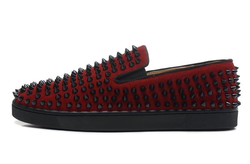 Qualität Top Luxus Designer Marke Red Bottoms Männer Frauen Nieten Spikes Wohnungen Schuhe Hochzeit Liebhaber Echtes Leder Casual Turnschuhe