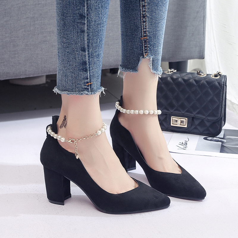 Designer Dress Shoes Primavera Autunno Donna String Bead Ankle Strap pumps Punta a punta Tacchi alti Donna Dress Faux Suede zapatos mujer 60h78