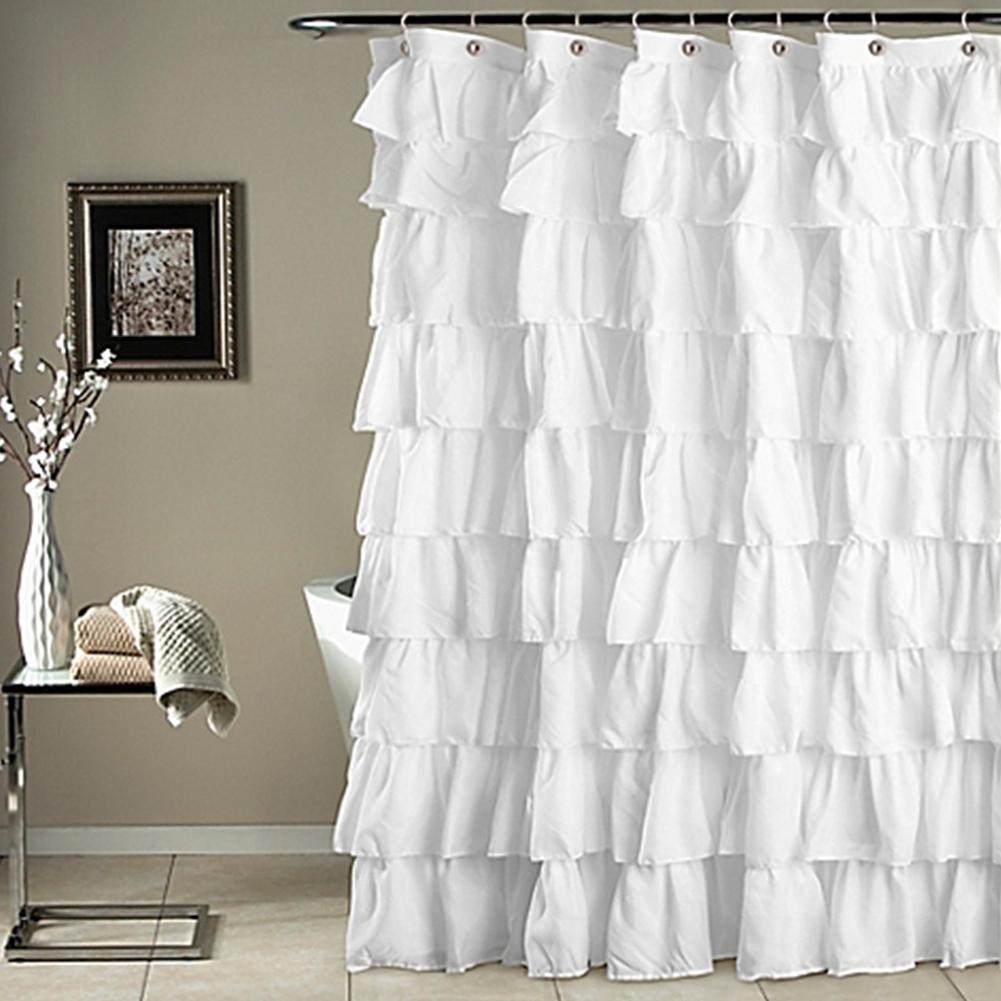 Cascade blanc à volants Rideau de douche