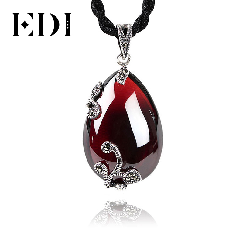 925 Sterling Silver Agate Flower Shape Pendant Necklace Women Fashion Jewelry