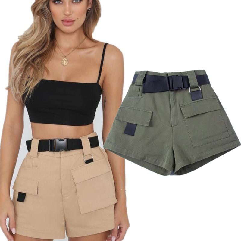2019 Summer Women's Tooling Casual Shorts Fashion Belt Cargo Loose High Waist Pocket Shorts Female Harajuku Style Student Shorts T4190617