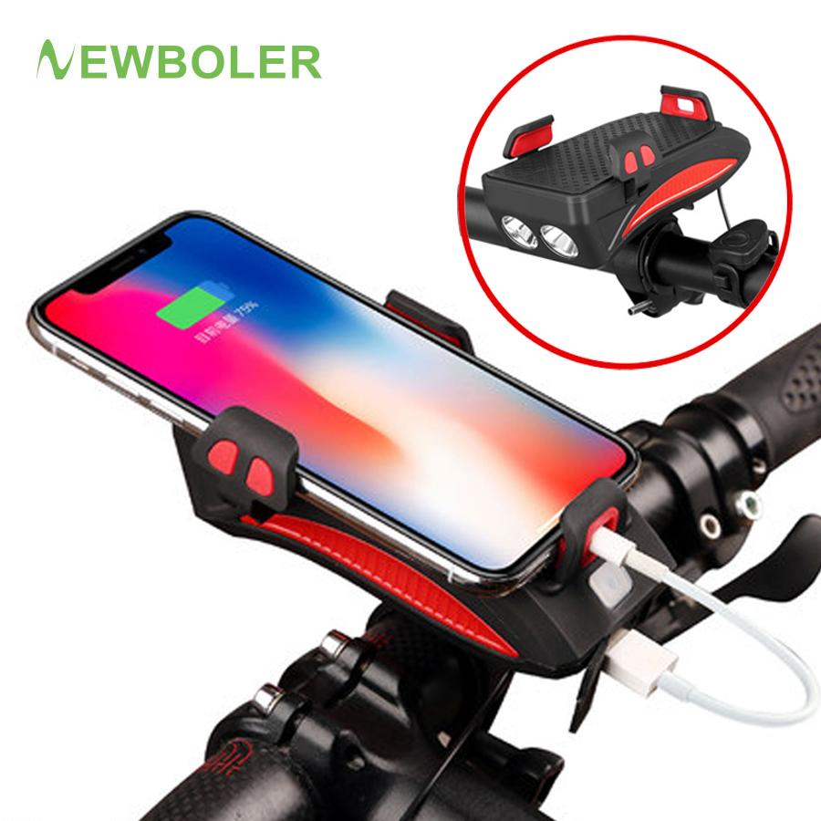 4 in 1 USB Rechargeable LED Bicycle Headlights Bike Horn Handlebar Phone Holder