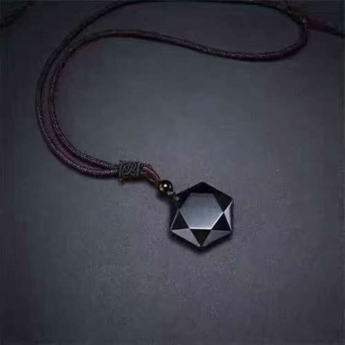 Fine Jewelry Natural Obsidian Carved Six Angle Star Faced Lucky Pendant + Rope Necklace