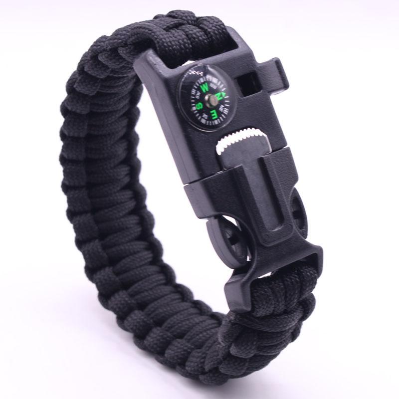 Bracelet Survie Paracord Sifflet Boussole Randonnée Survie Corde Escalade Mixte