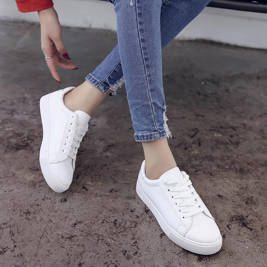 Zapatos casuales bonitos para mujer Zapatillas con estampado de gato Zapatillas blancas para mujer Zapatos sólidos con cordones para mujer Zapatillas de deporte Zapatos Mujer