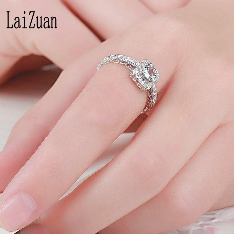 Laizuan Solid 18k au750 White Gold 0.41ct Natural Liaghtest Blue Aquamarine Diamond Engagement Ring Women Vintage Fine Jewelry S625