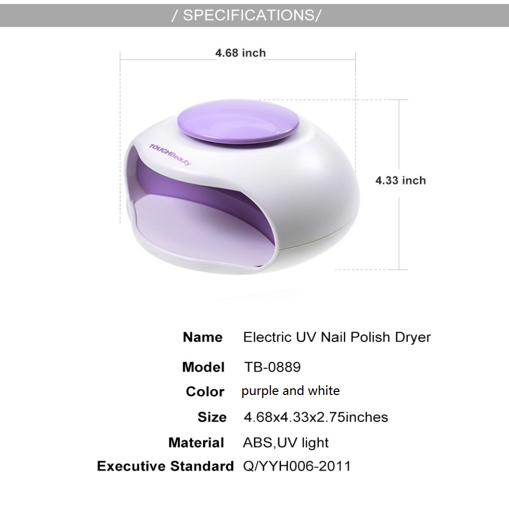 TB-0889 Portable Nail Dryer with Air and LED Light Good for Regular Nail Polish
