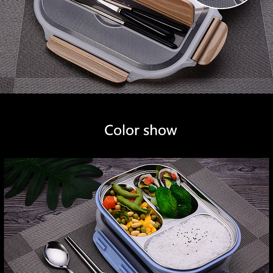 ONEUP stainless steel Lunch box Eco-friendly Wheat Straw Food container with cutlery Bento Box With Compartments Microwavable 14