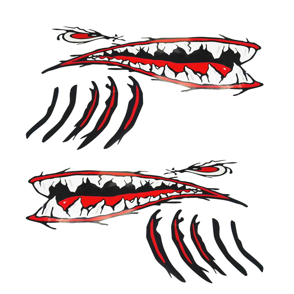 Pack 2 Shark Teeth Mouth Stickers Decals for Fishing Boat Surfboard Jet Ski Car Truck Aircraft Waterproof self adhesive