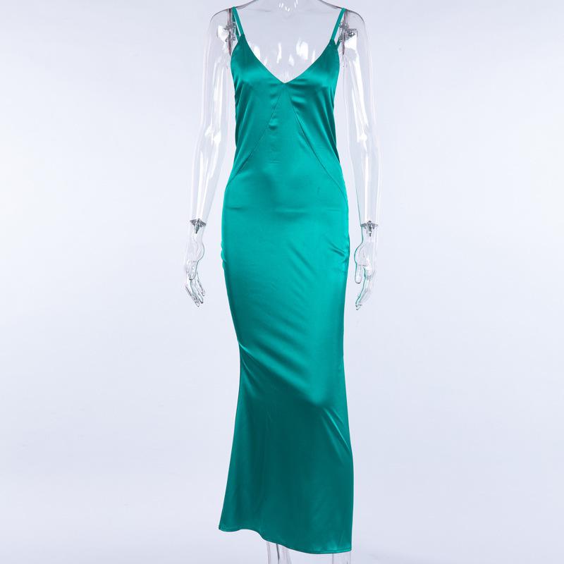 Boofeenaa Satén Verde Seda Sexy Maxi Vestido de Las Mujeres Elegantes Club de Fiesta Vestidos Correa de Espagueti Backless Slip Vestido Vestido C66-ab31 Y190514