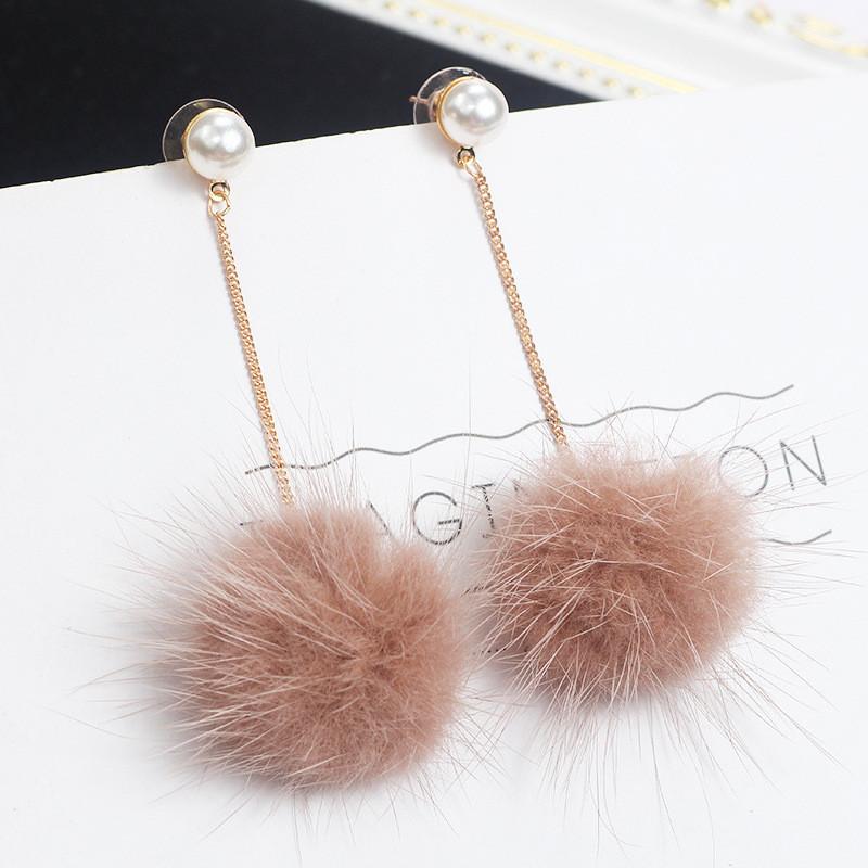 Fashion Mixed Sterling Gold Stud South Korea with a really cute mink hair long earrings wholesale Korean color Fur Ball Earrings