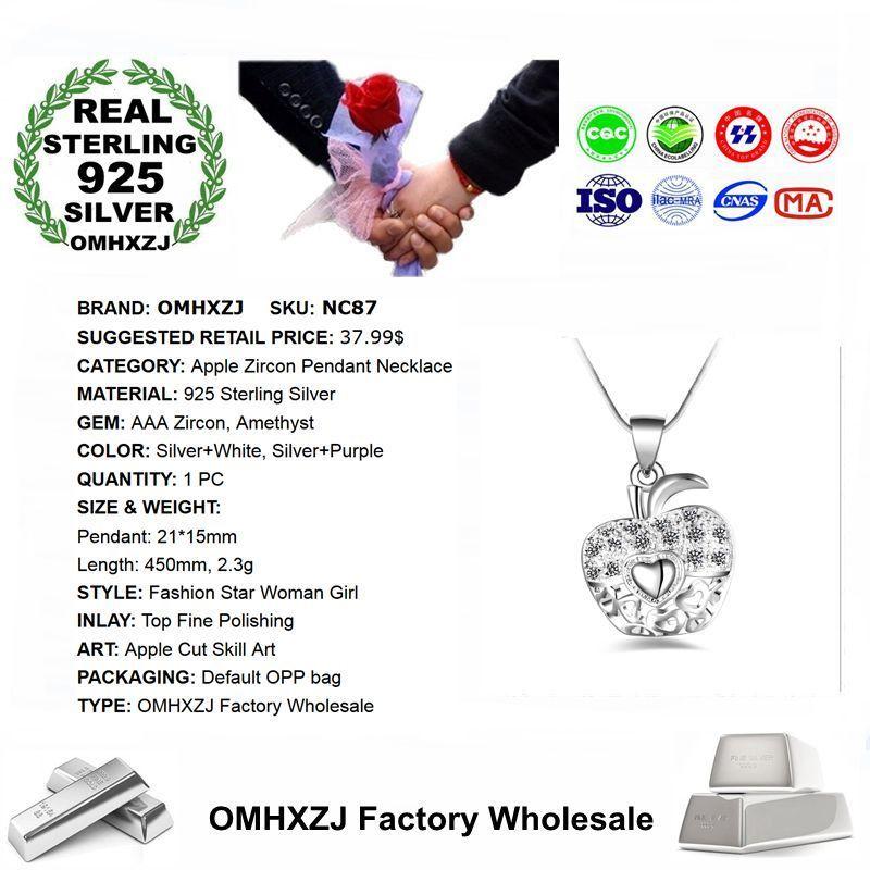 OMHXZJ Wholesale Personality Fashion Woman Girl Gift Apple White Amethyst Zircon 925 Sterling Silver Pendant Necklace NC87