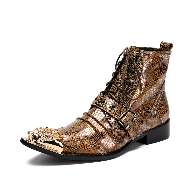 Italian Brand Men Ankle Boots Metal Pointed Toe Men Short Boots Genuine Leather Gold Lace Up Motorcycle Cowboy Boots 38-47