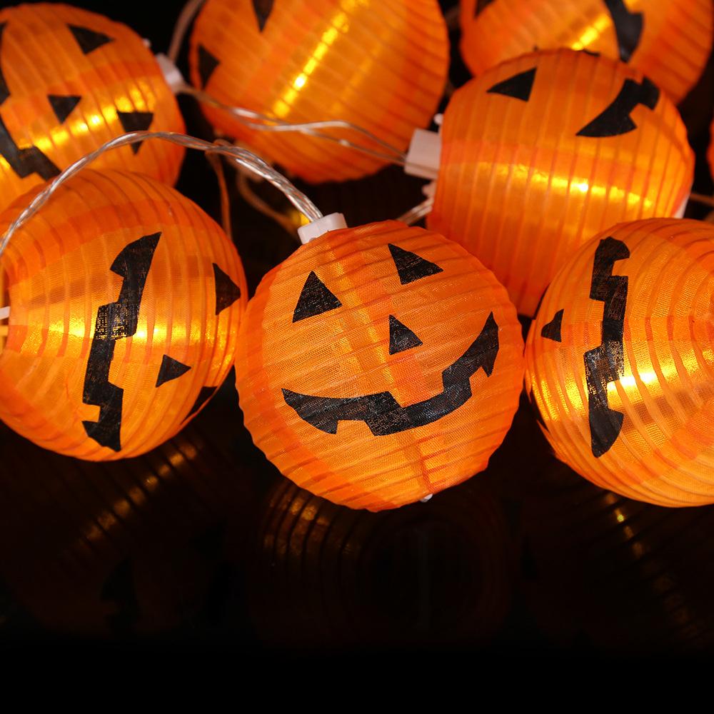 19 Años de la calabaza de la linterna LED adorna la lámpara de cuerdas terror Mueca Ambiente Caja de la batería llena decorativo Cadena T190921