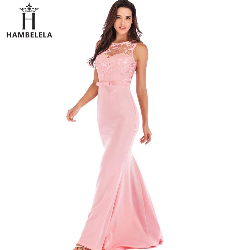 HAMBELELA Long Maxi Backless 2019 Women Dress Summer Evening Party Dresses Sexy O-Neck Elegant Floral Lace Dress Vestidos Longo (7)
