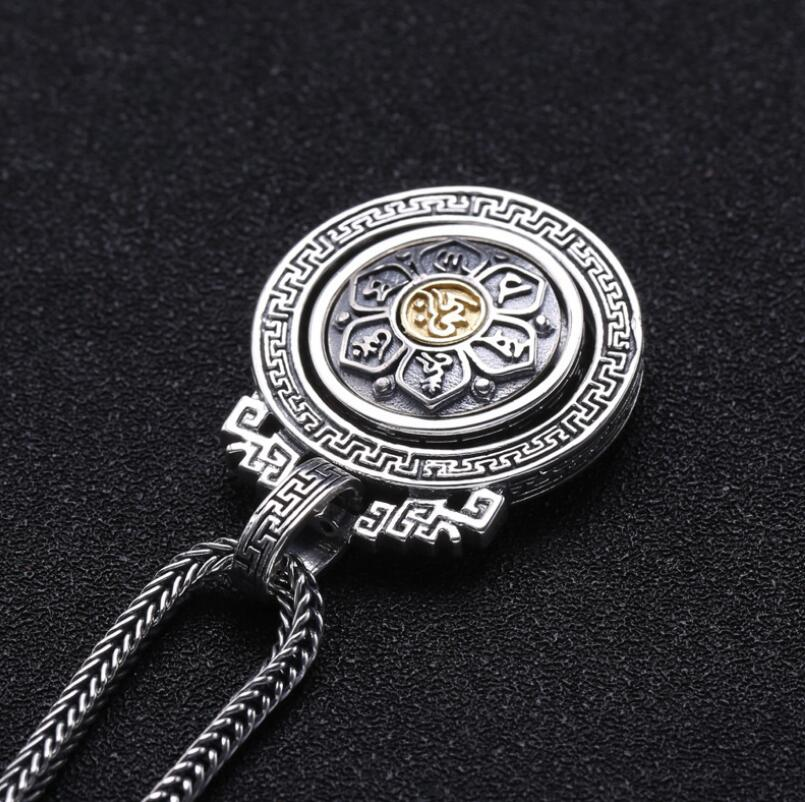 925 sterling silver jewelry men and women six-word mantra turn religious lucky pendant FGL