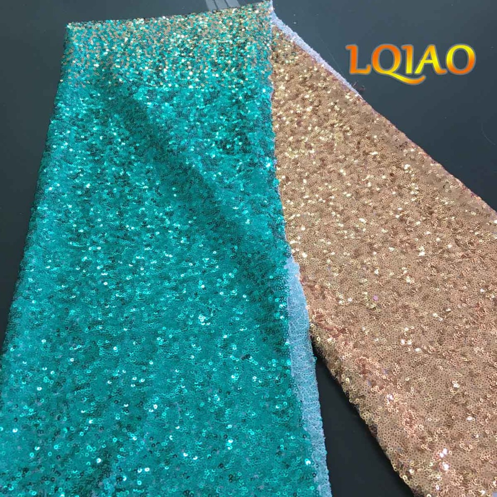 Green Gold Sequin Fabric-01