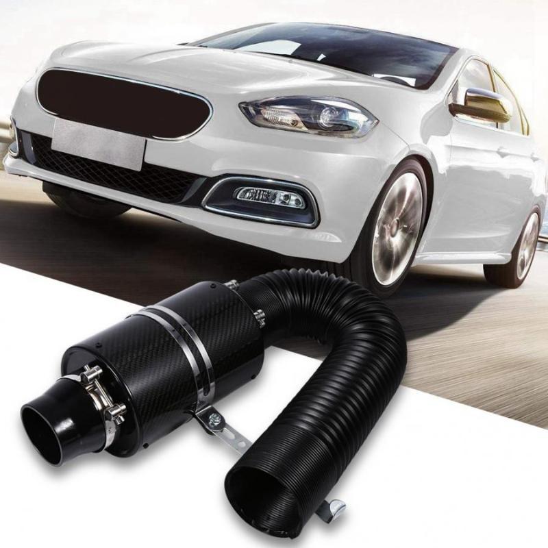Universal Car 3Kit de manguera de tuber/ía de inducci/ón de admisi/ón de filtro de aire fr/ío de fibra de carbono de 3 Filtro de inducci/ón de admisi/ón