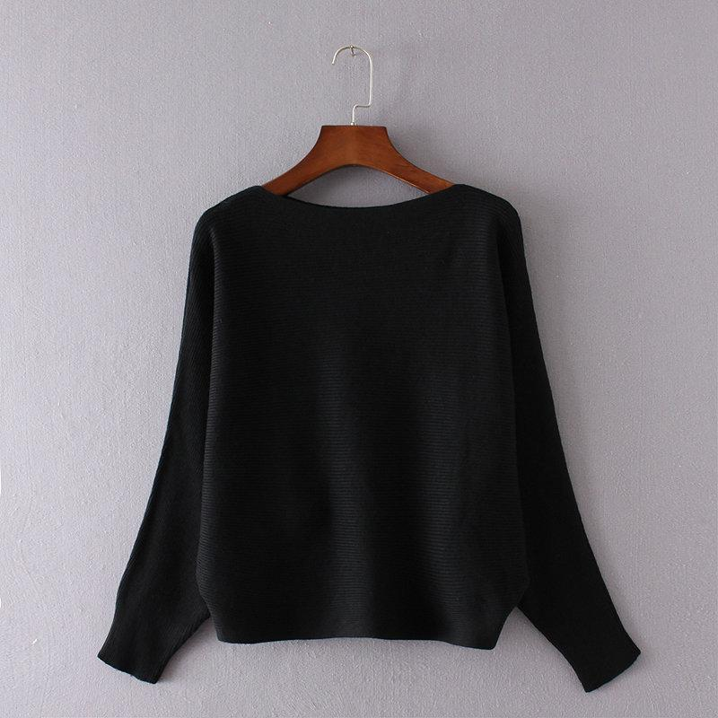 2016112117 Fashion Women Sweaters And Pullovers Batwing Sleeve Pullovers Slash Neck Casual Off Shoulder Sexy Knitted pull femme