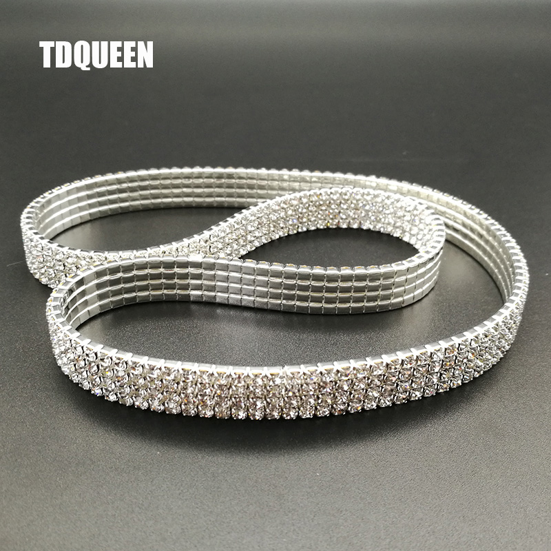 TDQUEEN Anklet Silver Plated Leg Jewelry for Women 4 Rows Crystal Rhinestone Stretch Chain on the Leg Barefoot Sandals Anklets (2)