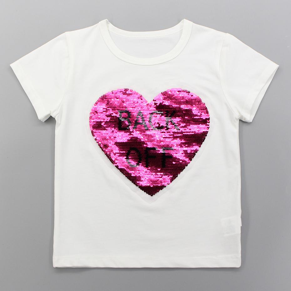 6427fb047 Camisetas para niñas Lentejuelas en forma de corazón Camiseta para niñas  Camiseta roja de manga corta Niños Ropa de verano para niñas 3 6 8 10 12 14  Año