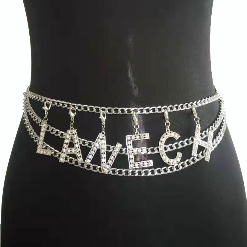 Donne Ragazze Eleganti Strass Oro Catena Regolabile in Vita Fashion Cintura