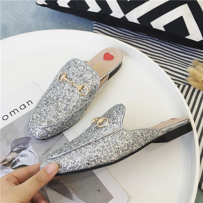 Lucky2019 Mi Yang Paillette Baotou Half Woman Summer Outside Clothes Dawdler Slipper Flat Bottom Muller Shoe