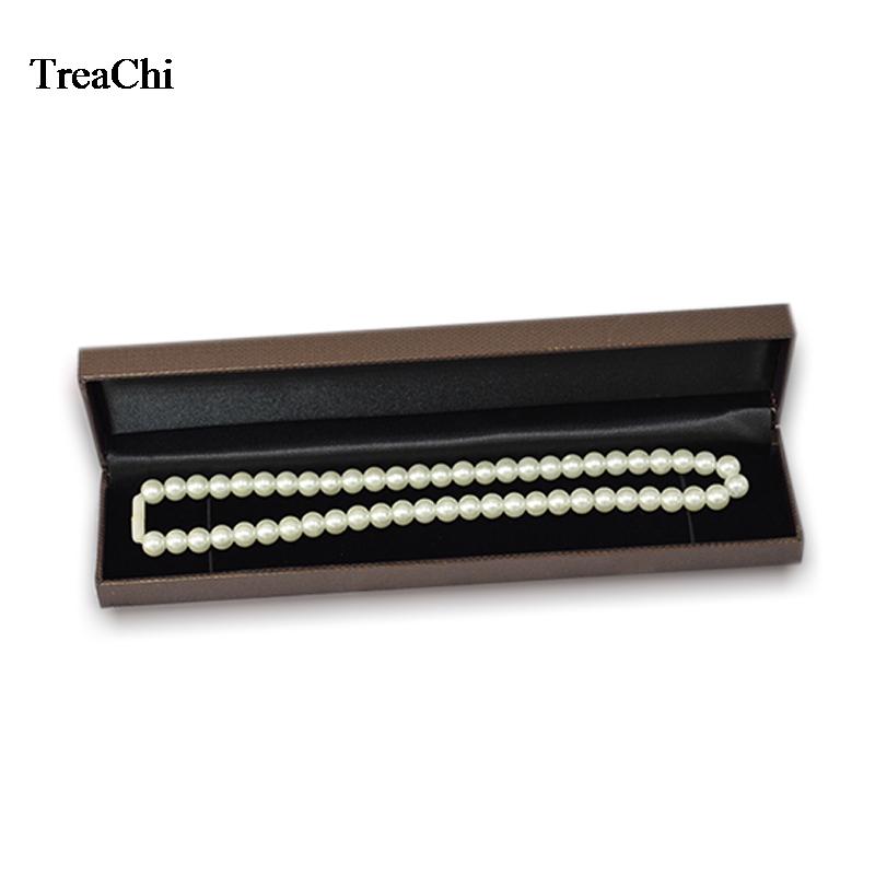 Elegant Necklace Jewelry Display Case Brown Pendant Bead Chain Bracelet Anklet Storage Organizer Gift Box 22.8*5*2.8cm