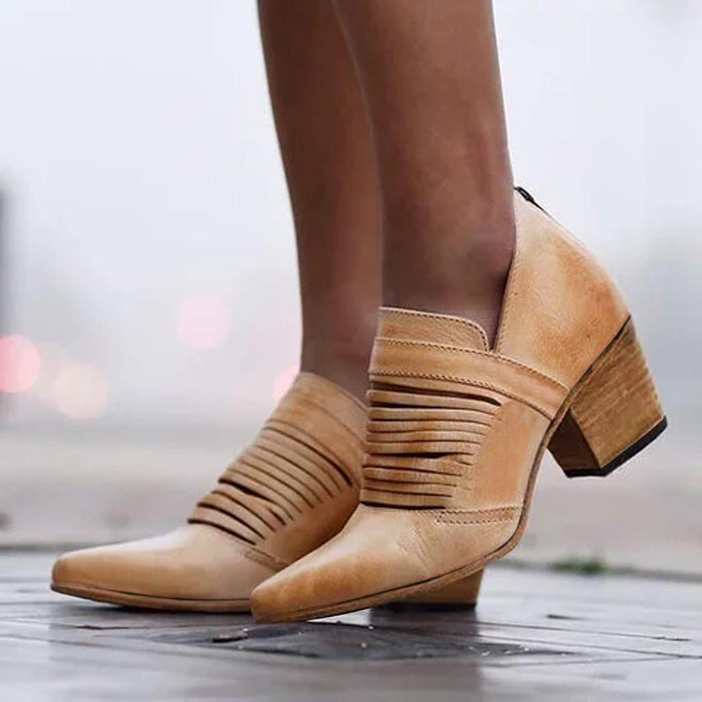 Kleid Schuhe Mode Frauen Frühling Herbst Wilde Lederstiefel Damen Platz Ferse Gestreift Aushöhlen Ankle Vintage Boot Römisch