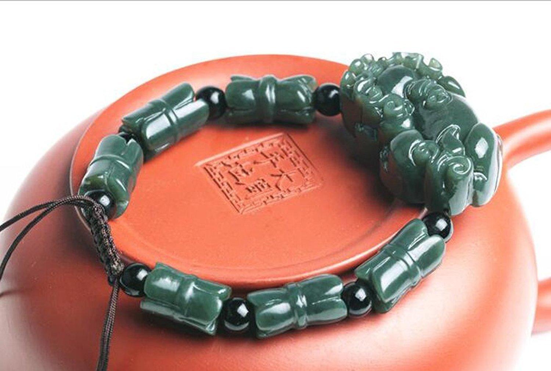Fine Jewelry Green Jade Handmade Brave Troops Kirin Carved Bracelet