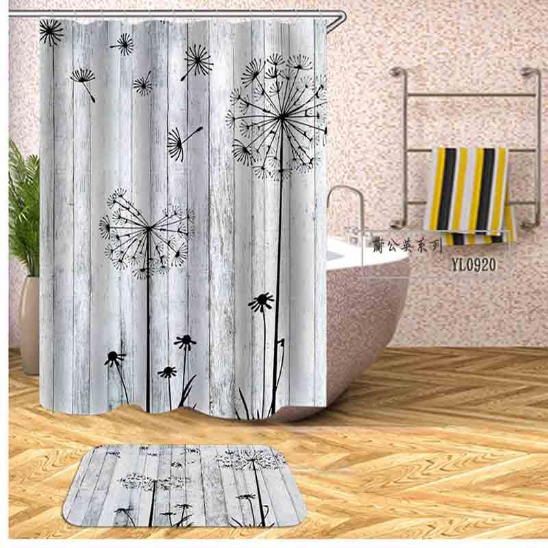 "71/"" belle cascade Tissu De Polyester Rideau de douche avec 12 crochets Set Tapis de bain"