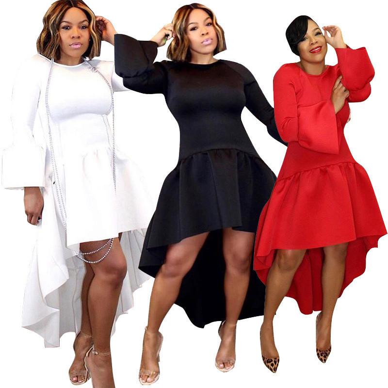 Elegant Evening Party Dress Women Long Sleeve Red Christmas Dress Short Versus Long Back And Asymmetric High Low Dress Black