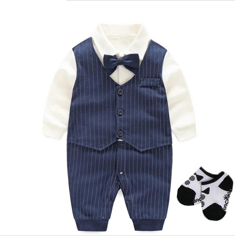 Newborn baby boys wedding party tuxedo bodysuit+hat+sock+shoes baby shower gift