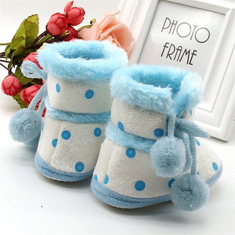 1 Pair Baby Girl Boots Baby Girl Dot Printed Bowknot Soft Sole Snow Boots Soft Crib Shoes Toddler winter Boots bota infantil D10 (10)