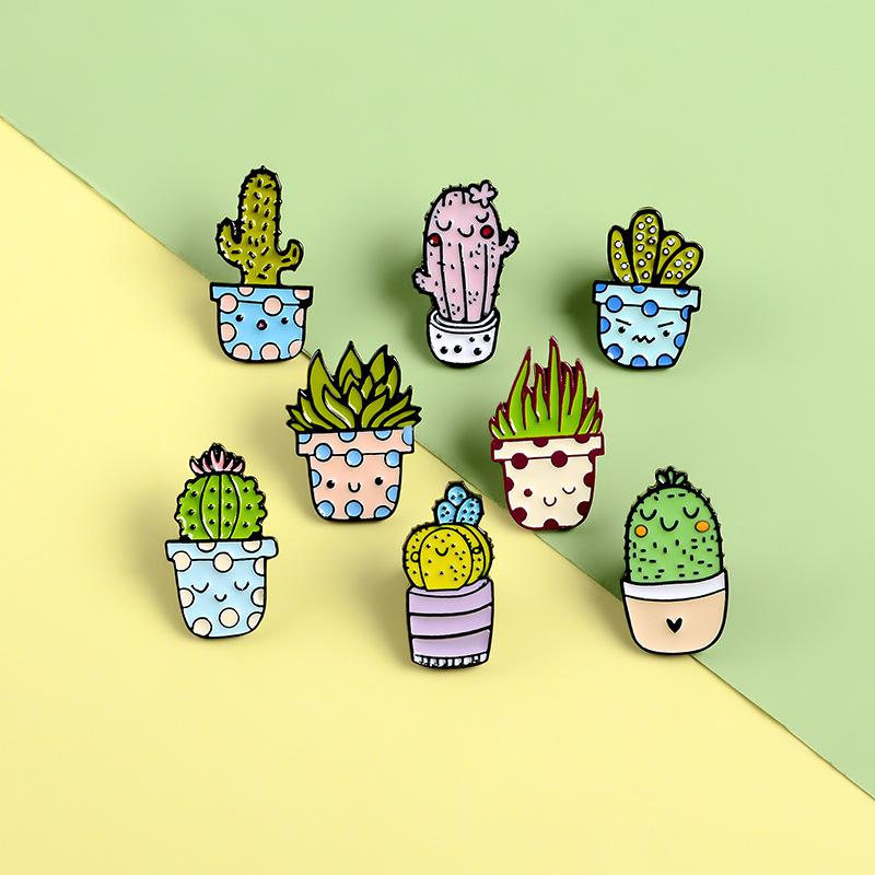 Cartoon Cactus Brooch Cute Mini Plant Pot Enamel Women Denim Jackets Lapel Pins Hat Badges Kid Jewelry Christmas Gift