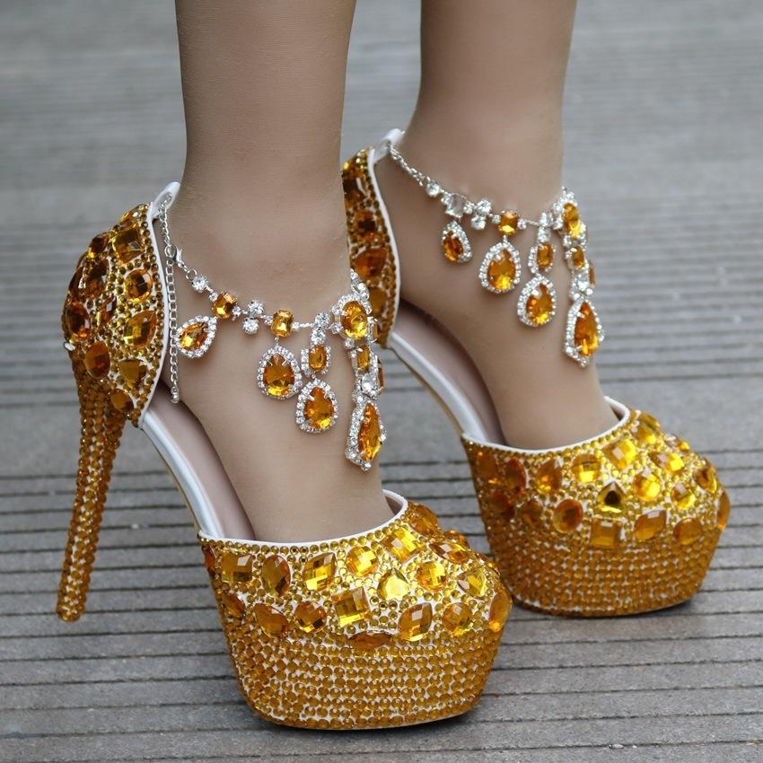Handsome2019 Strass Código de Ouro Sapatos de Casamento Sapato Único Mulher Totalmente-jóias de Cristal Alta Com Plataforma À Prova D 'Água Uma Palavra Trazer
