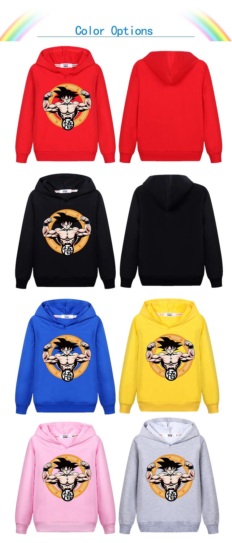 Acheter 3 14ans Enfants Vêtements Japon Fils Goku Anime Dragon Ball Z Enfants Sweat À Capuche De Bande Dessinée Super Saiyan Garçons Filles T Shirt